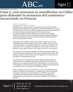 ABC - Unas 3.000 personas se manifiestan en Cúllar para defender la inocencia del camionero encarcelado en Francia