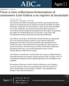 ABC - Unos 2.000 cullarenses homenajean al camionero Luis Galera a su regreso al municipio