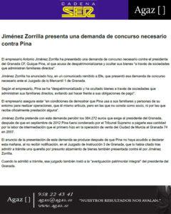 Cadena Ser - Jiménez Zorrilla presenta una demanda de concurso necesario contra Pina