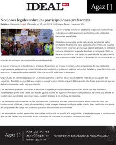 Ideal - Nociones legales sobre las participaciones preferentes