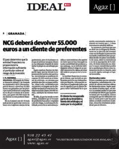 Ideal - NCG deberá devolver 55.000 euros a un cliente de preferentes